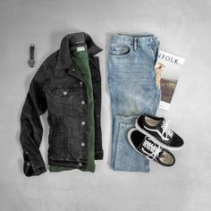 Clean and simple fit Vans Outfit grid Black Denim Jacket Men, Fashion Mode, Mens Fashion, Guy Fashion, Work Fashion, Winter Fashion, Stylish Men, Men Casual, Style Masculin