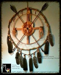 27 inch Custom Native American Medicine Wheel by Michael L Hutchings, Choctaw. ©2013 All rights reserved $225