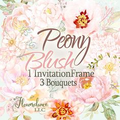 Blush pink Peonies accented with olive greenery and blush pink filler come together in a beautiful set of Wedding Clipart. It was hand painted by me, especially for you. Use it on wedding invitations, wedding cards, photos, posters, quotes and more. This set has 4 pieces. Three are