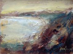 Yellow Light on North Coast - oil on panel by Cornish landscape artist Steve Slimm. North Coast, Contemporary Landscape, Artist At Work, Abstract Art, Around The Worlds, Nature, Yellow, Inspire, Artists