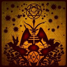 A stylized Baphomet sitting on a Unicursal Hexagram; the Star of Babalon is above Baphomet's head with the Mark of the Beast within. by Mustafa Al-Laylah Occult Symbols, Occult Art, Herne The Hunter, Spooky Tattoos, Symbolic Art, Aleister Crowley, Baphomet, Magick, Wiccan