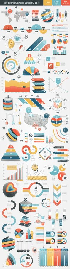 Infographic Bundle contains 3 sets of infographic elements. This sets contain fully vector graphic objects. If you buy this bundle template be sure that you have enough knowledge to edit it. Unique colour scheme and different styles of infographic objects Graphisches Design, Graph Design, Chart Design, Layout Design, Cv Website, Illustrator, Planer Layout, Magazin Design, Charts And Graphs