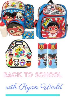 Back to School with Ryan World Backpack, Lunch Bag and Water Bottle Hello Kitty Bedroom, Back To School Backpacks, Vera Bradley Backpack, School Bags, Water Bottle, Lunch, World, Ideas, Backpacks For School