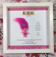 A personal favourite from my Etsy shop https://www.etsy.com/uk/listing/509765260/personalised-scrabble-poppy-troll-frame