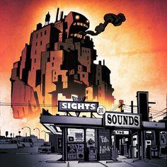 "Tab & Anitek ""Sights & Sounds"" album cover by american animator Robert Valley (Tron Uprising)."