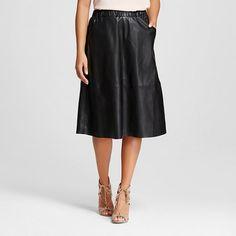 Women's Vegan Leather Midi Skirt Black  - Bagatelle City