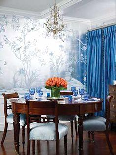 de Gournay wallpaper in Tinsley Mortimer's apartment.