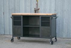 Industrial Bar Cart, Modern Kitchen Island Combine 9