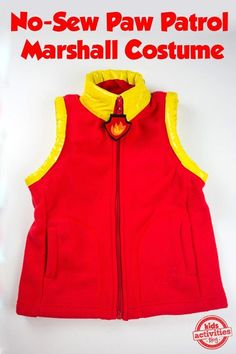 PAW Patrol fans will have so much fun dressing up as their favorite pup with this No-Sew PAW Patrol Marshall Costume. I am all about creating costumes Marshall Halloween Costume, Paw Patrol Halloween Costume, Sac Halloween, Marshall Costume, Family Halloween Costumes, Diy Costumes, Halloween 2018, Paw Patrol Marshall, Marshall Paw Patrol Costume