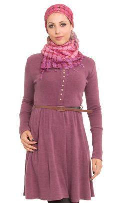 Long Pink Knit Islamic Tunic Dress  | Islamic Clothing at Artizara.com