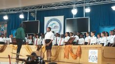 Chorus performing at the school board building for Black History Month.