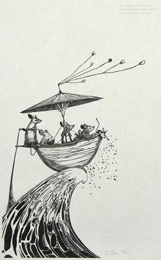 Andy Farkas. Their Boat. Wood engraving. Edition 31/75. 12 x 7 inches.