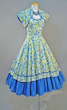 Vintage 1950s Cotton FLORAL Blue Green BOLERO by GeronimoVintage, $249.00