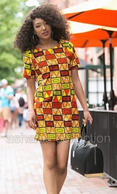 ASHANIS - ZARIA African Print Shift Dress - Style Chic