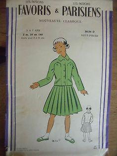ANCIEN PATRON Favoris & Parisiens -Vintage French JUPE PLISSE & VESTE 1940/50