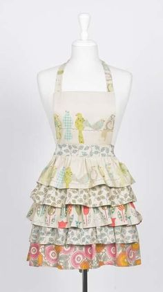 Flirty little apron tutorial. I can't sew but boy do I LOVE this pattern!  And the material is adorable.  Somebody make this for me!  ~Amy