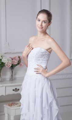 Strapless Sweetheart Embroidery Beaded Cascading Bridal Dress with Train