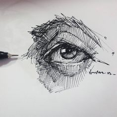 Eye drawing inkpen @burakgecgill.art