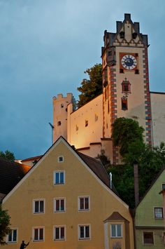 Castle Hohes-Schloss's Clock Tower in Fussen, Germany.