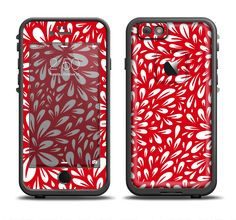 The Bright Red and White Floral Sprout Apple iPhone 6/6s Plus LifeProof Fre Case Skin Set from DesignSkinz