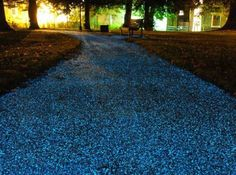 Glow in the Dark Pebbles: Turn your front yard into a scene right out of Avatar! Line a walkway, edge a flower bed or fill a planter with these unique acrylic pebbles. After being exposed to daylight, these pebbles glow (sky blue) in the dark. Living Pool, Bike Path, Parcs, Dark Night, Pavement, Solar Energy, Solar Power, Pathways, Shade Garden