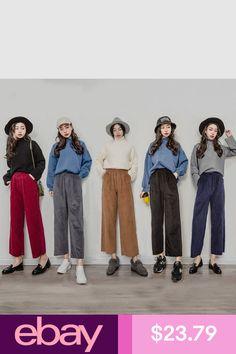 #eBayPants Clothing, Shoes & Accessories Trouser Outfits, Pants Outfit, Corduroy Pants Women, Cropped Trousers, Fashion Pants, Parachute Pants, Vintage Ladies, Wide Leg, Harem Pants