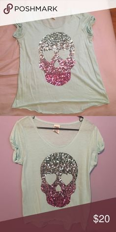 Sequence skill tee Cute & lightweight sequenced skull tee. Gently used. PINK Victoria's Secret Tops Tees - Short Sleeve