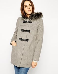 Enlarge ASOS Premium Duffle Coat With Faux Fur Hood