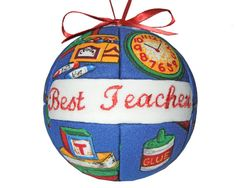 Best Teacher Christmas Ornament Handmade Quilted by CraftCrazy4U