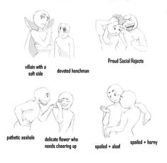 ship dynamics meme by withswords on DeviantArt - Shipping tropes - Ship Drawing, Drawing Base, Character Poses, Character Drawing, Drawing Prompt, Drawing Ideas, Drawings Of Friends, Writing Characters, Art Prompts