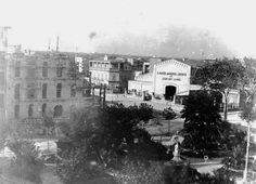 Edifici de can Mir, actual cine Augusta. Durant la Guerra Civil aquest magatzem es va usar com a centre d'internament o presó.