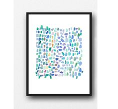 original painting Sea glass art little abstract by LouiseArtStudio