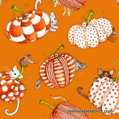 Spooktacular Too by Debbie Taylor Kerman for Henry Glass Fabrics holiday cotton novelty fabric of pumpkins, cats, and mice for Halloween or thanksgiving Halloween Fabric, Halloween Art, Novelty Fabric, Fabric Pumpkins, Panel Quilts, Halloween Wallpaper, Quilt Making, Printing On Fabric, Sewing Projects