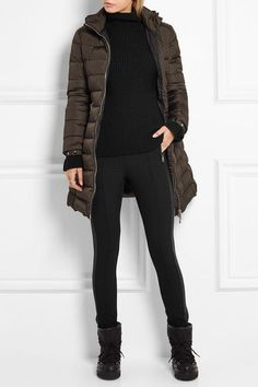 Moncler - Fleece-lined Twill Leggings - Black