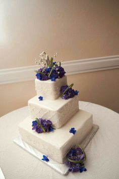 Wedding cake #blueandpurplepearlweddingcake #diamondshapedcake # pearl cake