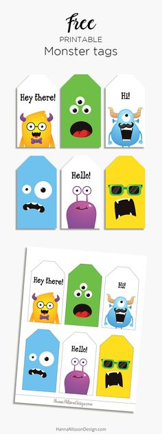 Monsters can be scary or they can be cute. These cute monster tags works well as gift tags, birthday gr… Free Printable Gift Tags, Templates Printable Free, Free Printables, Happy Birthday Tag, Kids Birthday Gifts, Diy Birthday Tags, Bookmarks Kids, Bullet Journal, Monsters