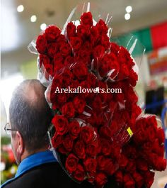 80 RED ROSES – VALENTINE DAY Hand Tied Bouquet of 80  Premium Roses – Wrapped in Cellophane Sheet Packing. Free Message Card