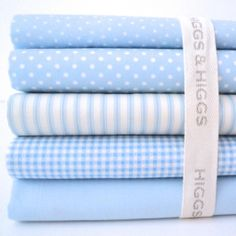 BABY BLUE - CLASSIC CHIC - GINGHAM DOTS STARS STRIPES HEARTS 100% COTTON FABRIC