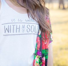 IT IS WELL WITH MY SOUL Cream Tank This phrase is often repeated in our daily lives when we need a little reminder that God's plan is sometimes different than our own. The peace that comes from acceptance is the vibe we're sending with this expressive design.