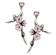 Shaun Leane Silver Branch Cherry Blossom Earrings with Rhodalite & Pearls SLS232 | C W Sellors Fine Jewellery and Luxury Watches