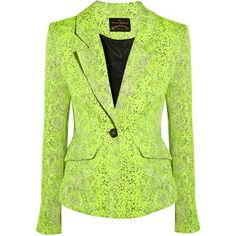 Vivienne Westwood Anglomania Trot neon textured-jacquard blazer ($742) ❤ liked on Polyvore