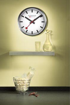 The Mondaine Swiss Railways Wall Clock in Silver