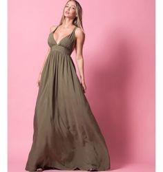 Princess Maxi Φόρεμα με δέσιμο στη πλάτη - Χακί