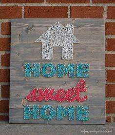 DIY String Art -- Home Sweet Home | Find string art instructions from @infarrantlyc