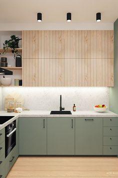 Modern Kitchen Cabinets, Kitchen Cabinet Design, Wooden Kitchen, Kitchen Furniture, Kitchen Interior, Kitchen Ideas, Gray Cabinets, Wood Kitchen Countertops, Ikea Kitchen Inspiration