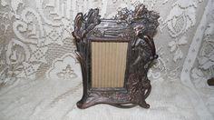 Antique Art Nouveau Bronze lady/Floral Design Picture Frame W/Glass by FabulousFinds1 on Etsy