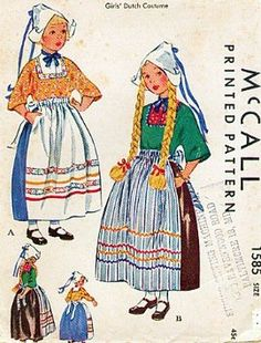 mccalls-1585-girls-1950-dutch-maid-costume-sewing-pattern-vintage-skirt-apron-blouse-and-hat_7354575.jpeg (270×355)