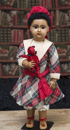 """25"""" (64 cm) Antique French Brown Complexioned Bisque Bebe by Jumeau with Original Costume, c.1895"""
