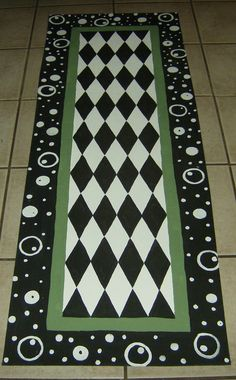 "Deep Space FLOORCLOTH Runner / Hand Painted Canvas Rug / Whimsical / Black and White Checked / Green / 30"" x 72"""