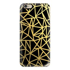 iPhone 6 Plus/6/5/5s/5c Case - Abstract Outline Thick Black and Gold ($40) ❤ liked on Polyvore featuring accessories, tech accessories, iphone case, iphone cover case, apple iphone cases and slim iphone case